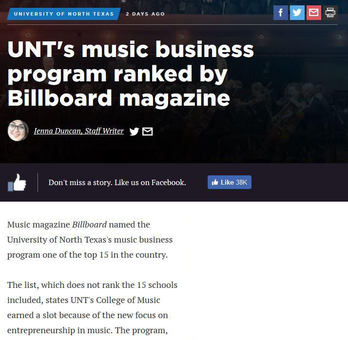 Snippet from news article from denton record chronicle on UNT college of music business program ranking with billboard magazine