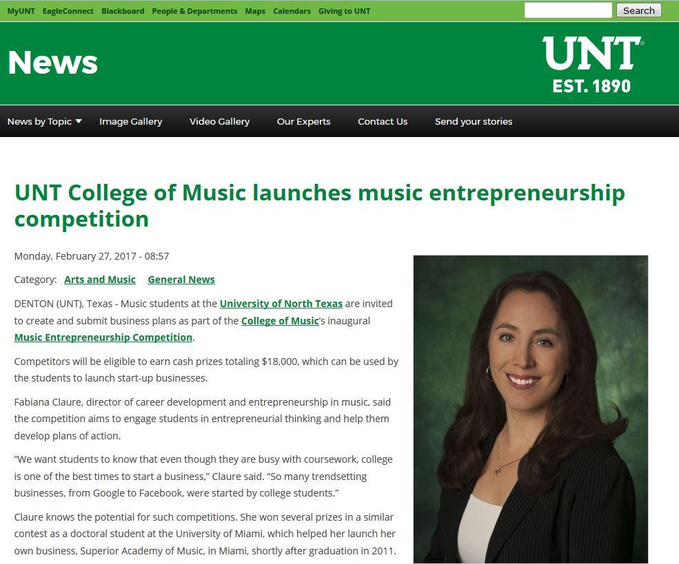 UNT College of Music launches music entrepreneurship